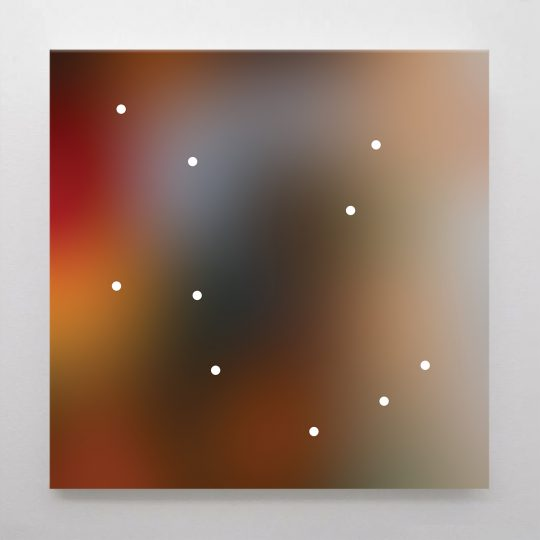 Untitled (10 white dots on multi-colour)