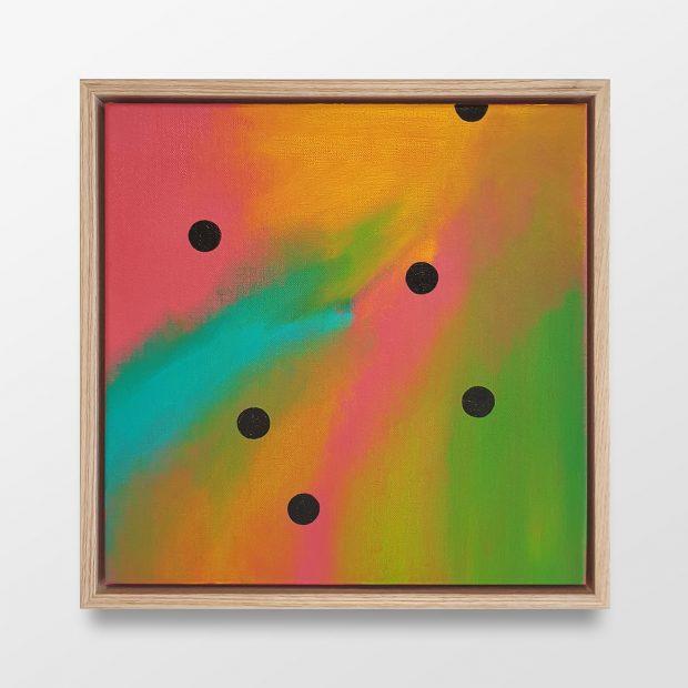 Untitled (6 black dots on multicolour)