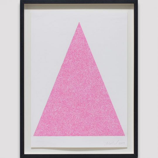 Pink scribble filling a white triangle