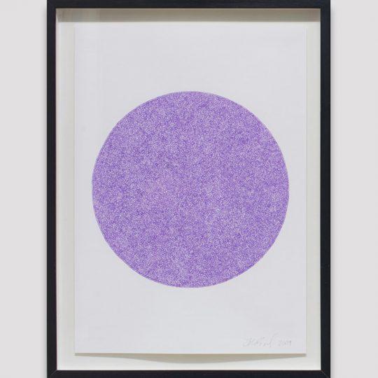 Purple scribble filling a white circle