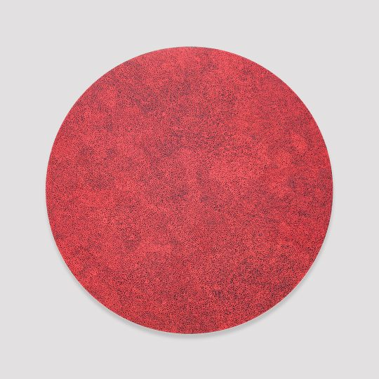 Extra fine red scribble filling a black circle