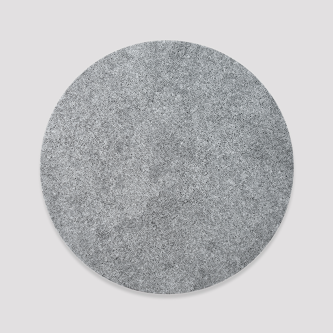 Extra fine white scribble filling a black circle