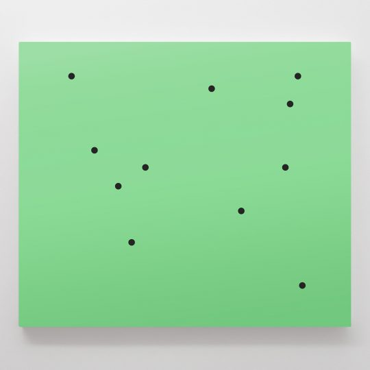 Untitled (11 black dots on green)