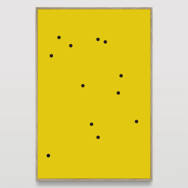 Untitled (12 black dots on yellow)