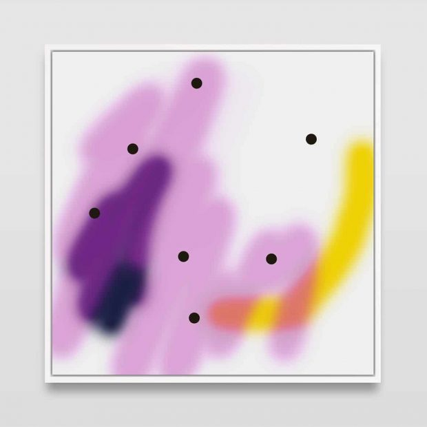Untitled (7 black dots on multi-colour)