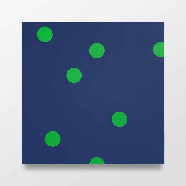 Untitled (7 green dots on blue)