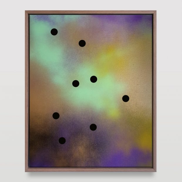 Untitled (8 black dots on multi-colour)