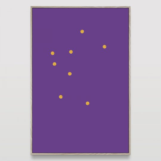 Untitled (8 gold dots on purple)